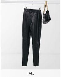 TOPSHOP Faux Leather Pants - Black