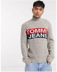 Tommy Hilfiger Logo Panel Roll Neck Knit Sweater - Gray