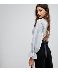 PrettyLittleThing - Bow Back Cropped Blouse - Lyst