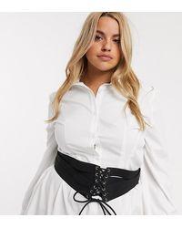 ASOS ASOS DESIGN Curve - Ceinture corset élastique à multiples lanières - Noir