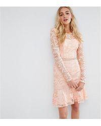 True Decadence Короткое Приталенное Кружевное Платье - Розовый