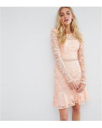 True Decadence - Allover Premium Lace Skater Dress With Fluted Hem - Lyst