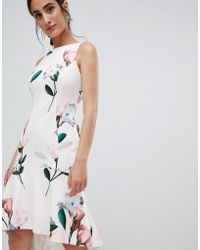 Coast - Campbell Scuba Skater Dress In Floral Print - Lyst