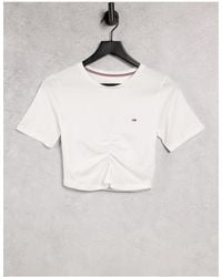 Tommy Hilfiger T-shirt bianca arricciata sul davanti con logo - Bianco
