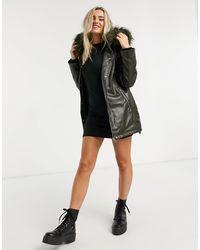 Urban Bliss Faux Fur Hood Parka Jacket - Green