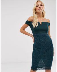 AX Paris Kanten Bardot Bodycon-jurk - Blauw