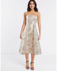 ASOS Floral Jacquard Bandeau Prom Midi Dress - Multicolour