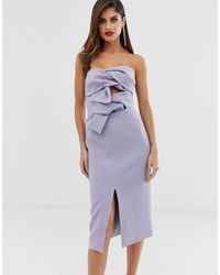 True Decadence Premium Double Bow Front Midi Dress With Keyhole Detail In Soft Lavender - Multicolour