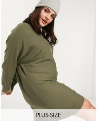 Noisy May Knitted Dress With Slashed Neck - Green