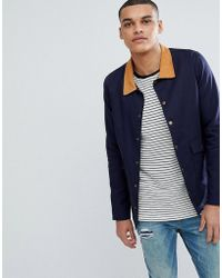 Boohoo - Worker Jacket With Cord Collar In Navy - Lyst