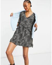 Vero Moda Smock Dress With Frill Sleeve - Grey