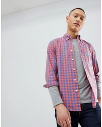 Abercrombie & Fitch - Poplin Gingham Check Button Down Collar Shirt In Red - Lyst