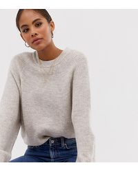 ASOS Asos Design Tall Fluffy Sweater With Balloon Sleeve - Natural