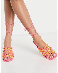 ASOS Henley Rope Detail Tie Leg Mid Heeled Sandals - Multicolour