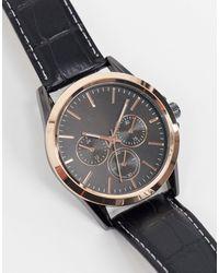 TOPMAN Mens Leather Watch - Black