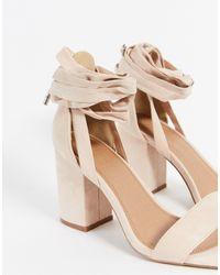 ASOS Wide Fit Howling Tie Leg Block Heeled Sandals - Pink