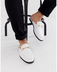 ASOS Mocasines estilo mule en cuero sintético blanco