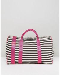 Yoki Fashion - Yoki Stripe Holdall With Pink Banding - Lyst