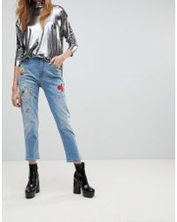 Love Moschino - Birds And The Bees Boyfriend Jeans - Lyst