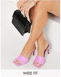 ASOS Фиолетовые Босоножки-мюли На Среднем Каблуке Для Широкой Стопы - Пурпурный