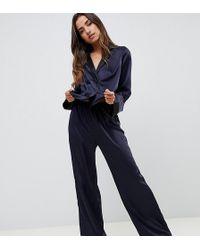 ASOS Contrast Satin Pyjama Trouser - Blue