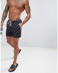 South Beach Swim Shorts With Ice Cream Print - Black