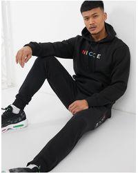 Nicce London Denver Hoodie With Multi Colour Logo - Black