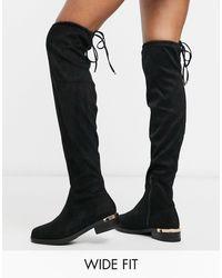 New Look Черные Ботфорты Из Искусственной Замши Для Широкой Стопы New Look-черный