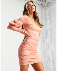 Naanaa Square-neck Satin Bodycon Dress - Pink