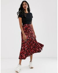 Stradivarius Maxi Skirt With Button Front In Floral Print - Red