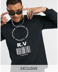 Reclaimed (vintage) Long Sleeve T-shirt With Barcode Print - Black