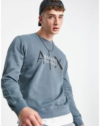 Armani Exchange Серый Свитшот С Круглым Вырезом И Логотипом На Груди
