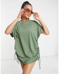 ASOS – Strand-Kimono aus Jersey mit gerafften Seiten - Grün