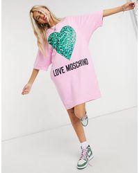 Love Moschino Розовое Платье-футболка С Логотипом Abito-розовый Цвет