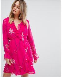 Vero Moda - Printed Ruffle Tea Mini Dress - Lyst