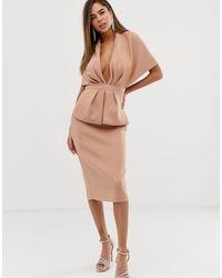 ASOS Платье Миди С Глубоким Вырезом И Баской - Естественный