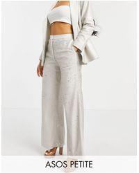 ASOS Asos Design Petite Premium Sequin Wide Leg Pants - Multicolour