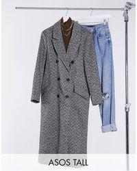 ASOS Монохромное Пальто С Подплечниками И Узором «в Елочку» - Серый