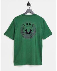 True Religion Camiseta oliva con logo estampado en la espalda - Verde