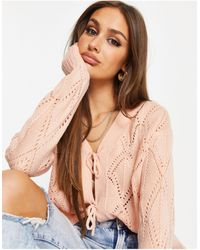 Missguided Pointelle Cardigan With Tie Front - Pink