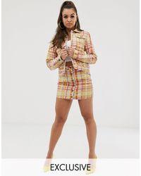 Liquor N Poker Bright Check Denim Skirt Co-ord - Multicolour