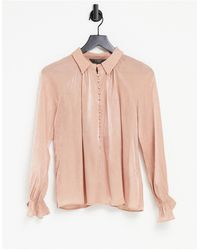 Lipsy - Розовая Атласная Фактурная Блузка -розовый Цвет - Lyst