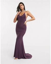Club L London Vestido largo tipo camisola en violeta - Morado