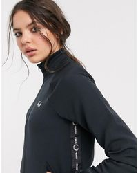 Fred Perry Taped Detail Zip Through Track Jacket - Black