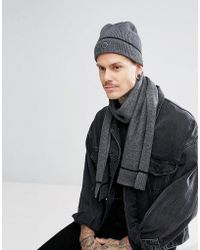 Pretty Green - Tipped Beanie & Scarf Gift Set With Gift Box In Grey/black - Lyst