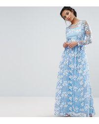 True Decadence - Premium 3d Lace Applique Maxi Dress - Lyst