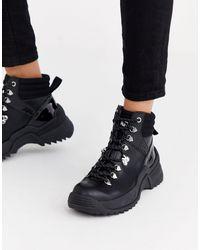 Karl Lagerfeld Черные Кожаные Походные Ботинки На Шнуровке -черный