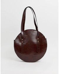 ASOS Circle Shopper Bag In Croc - Brown