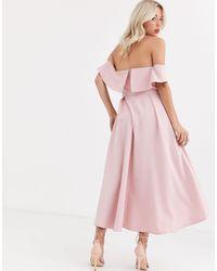 Chi Chi London Bardot Prom Skater Dress - Pink