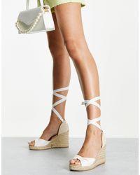 New Look Белые Сандалии-эспадрильи На Танкетке С Завязками -белый
